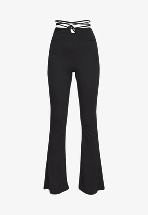TIE DETAIL FLARED TROUSERS - Leggings - black