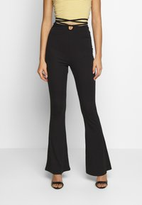 Missguided - TIE DETAIL FLARED TROUSERS - Leggings - black - 0