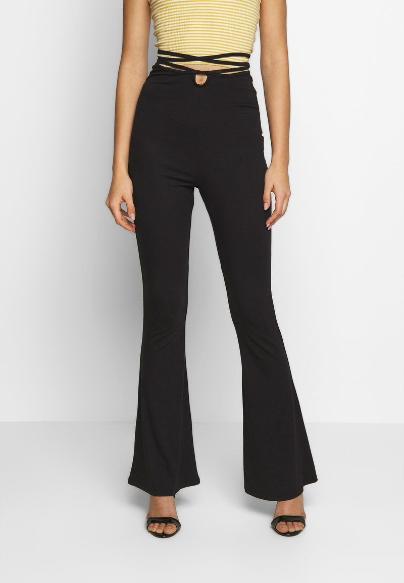 Missguided - TIE DETAIL FLARED TROUSERS - Leggings - black