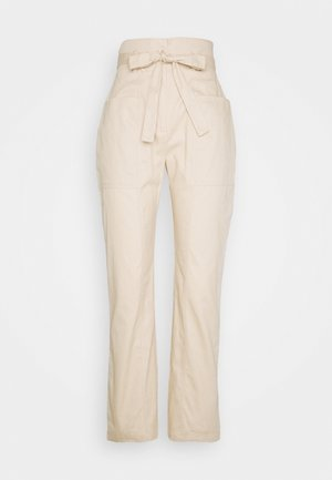 PAPERBAG WAIST BELTED TROUSERS - Trousers - beige