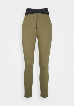 DOUBLE WAISTBAND ZIP  - Legging - khaki