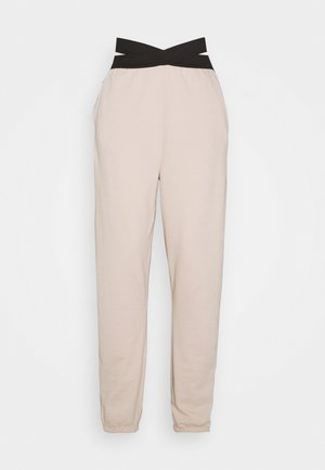 DOUBLE WAISTBAND JOGGERS - Pantalones deportivos - nude