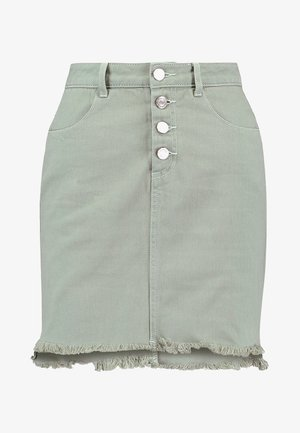 EXPOSED BUTTON STEP HEM SKIRT - Miniskjørt - sage