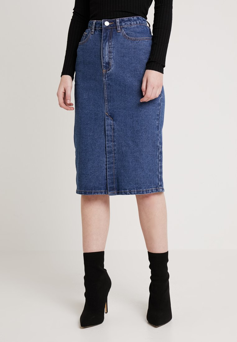 Missguided - CLEAN FRONT SPLIT - Pencil skirt - blue