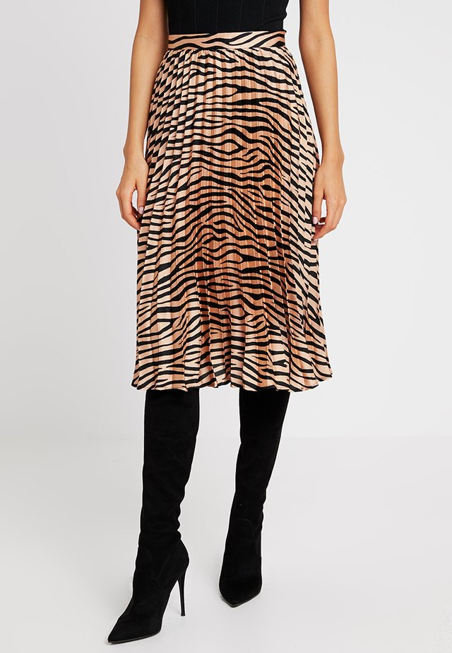 ANIMAL PRINT PLEATED SKIRT - A-line skirt - bronze