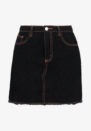 CONTRAST STITCH SKIRT - Áčková sukně - black