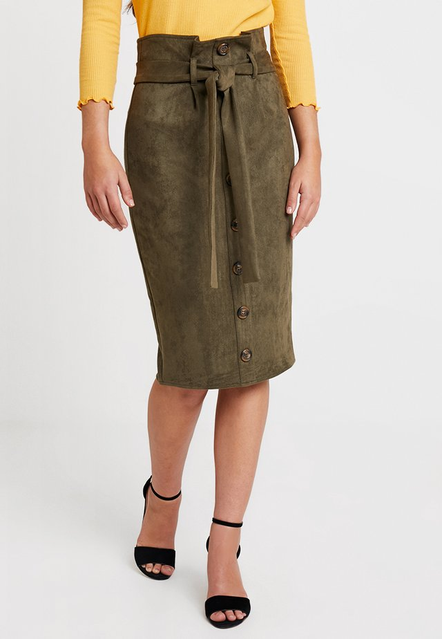 PAPERBAG BUTTON FRONT MIDI - Pencil skirt - khaki