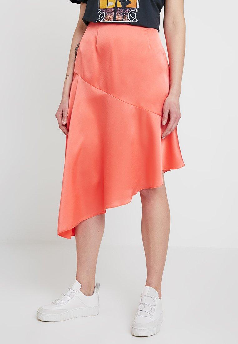 Missguided - ASYMMETRIC SKIRT - A-line skirt - coral