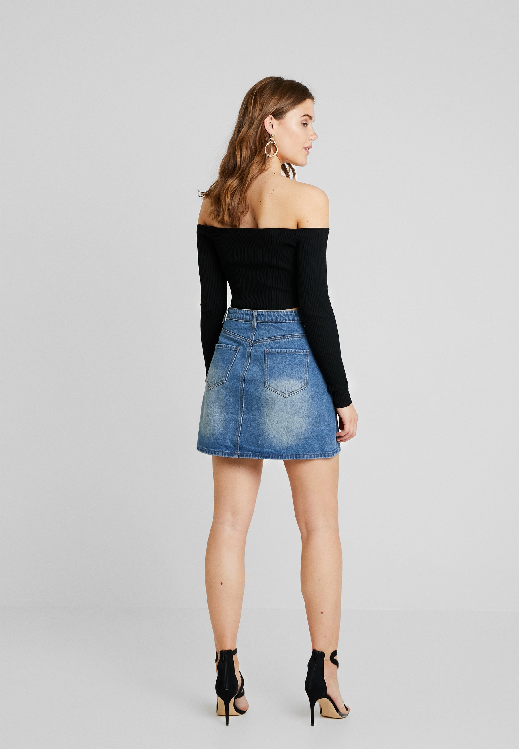 PocketJupe Mid Wash Button Missguided Through Patch Trapèze Y6f7gybv