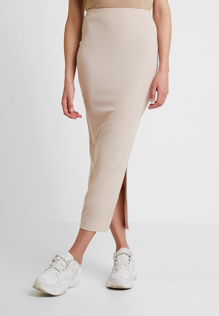 Missguided - BRUSHED CO ORD MIDAXI SKIRT - Bleistiftrock - stone