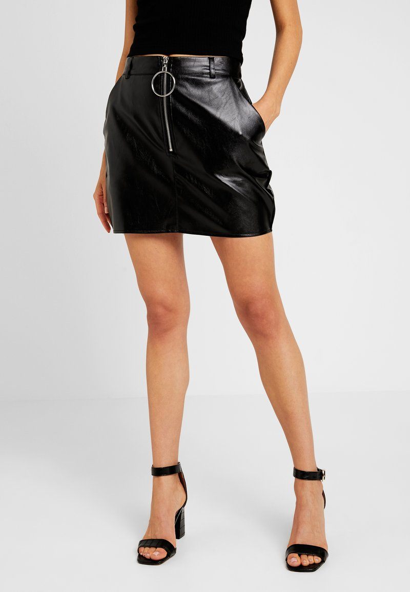 Missguided - O RING ZIP MICRO SKIRT - Minisukně - black