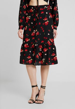 FLORAL BUTTON FRONT MIDI SKIRT - A-line skirt - black
