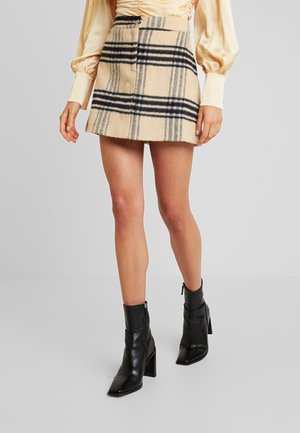 PURPOSEFUL BRUSHED CHECK SKIRT - A-line skjørt - sand