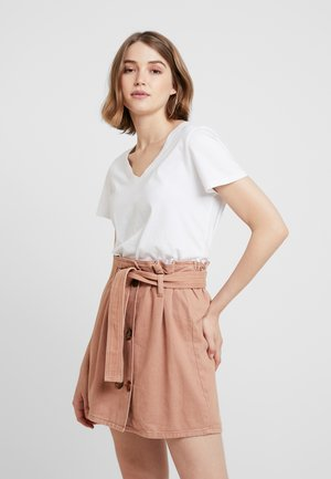 BELTED DOUBLE BUTTON DETAIL SKIRT  - Spódnica trapezowa - nude