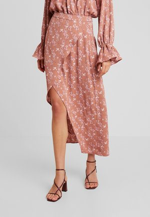 PURPOSEFUL FLORAL SPLIT FRONT SKIRT - Jupe longue - blush