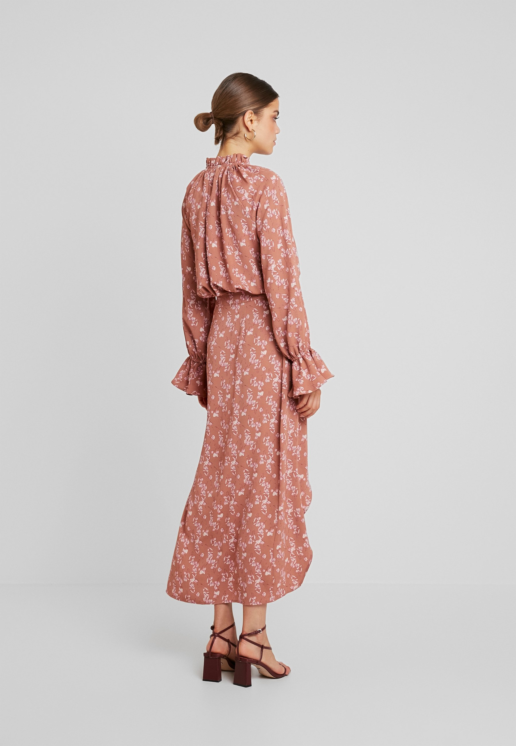 SPLIT blush FLORAL PURPOSEFUL longue Missguided FRONT SKIRTJupe b6f7gyYv