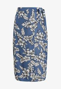 Missguided - PURPOSEFUL FLORAL TIE WAIST SIDE SLIT MIDI SKIRT - Wrap skirt - blue - 4