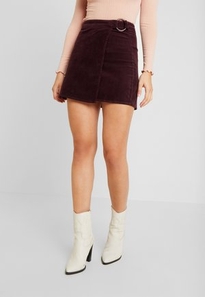 BUCKLE WRAP SKIRT - Miniskjørt - burgundy
