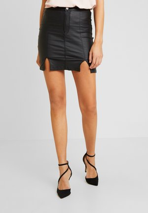 COATED SPLIT SUPER STRETCH - Minifalda - black