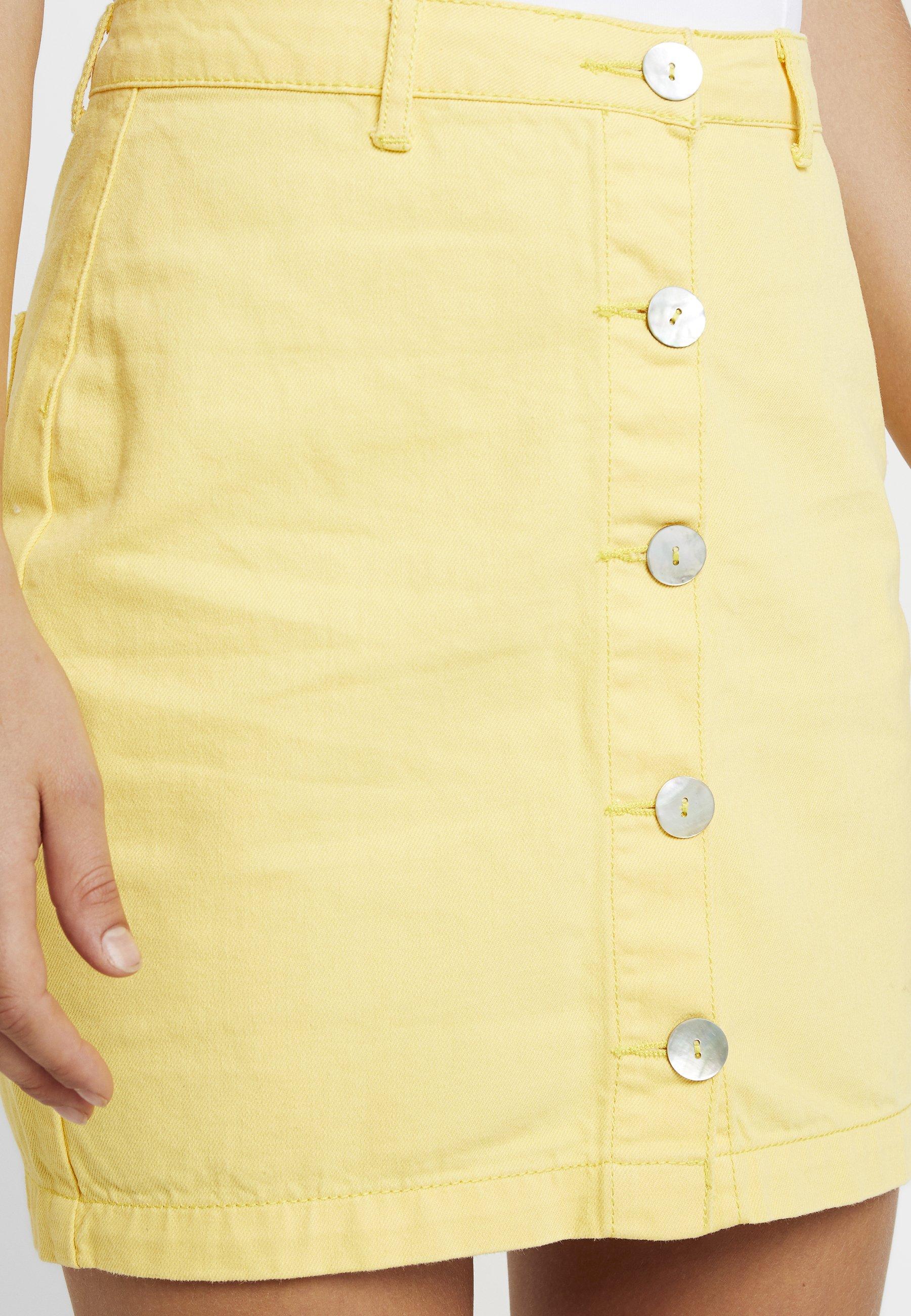 BUTTON crayon lemon Missguided THROUGH SKIRTJupe PEARLESCENT ARL4q35j