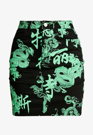 DRAGON PRINT SKIRT - Jeanskjol - neon green