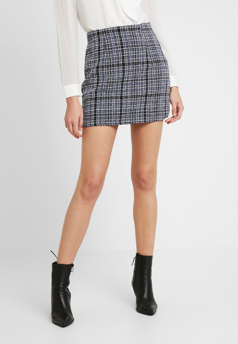 Missguided - BOUCLE CHECK MINI SKIRT - Jupe trapèze - blue