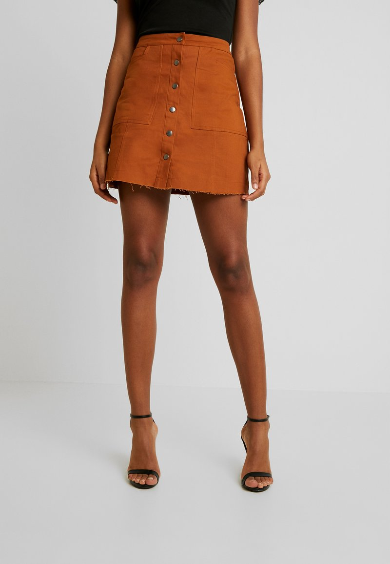 Missguided - BUTTON THROUGH SKIRT - A-Linien-Rock - rust