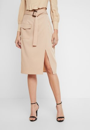 BELTED WRAP UTILITY MIDI SKIRT - Jupe portefeuille - sand