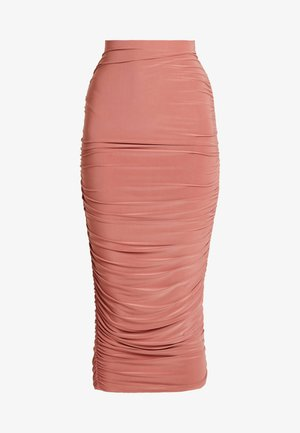 SLINKY RUCHED SKIRT - Falda de tubo - blush