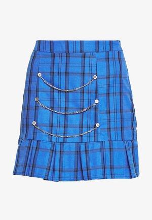 HAYDEN WILLIAMS CHECK PLEATED HEM SILVER DETAIL MINI SKIRT - Mini skirt - blue