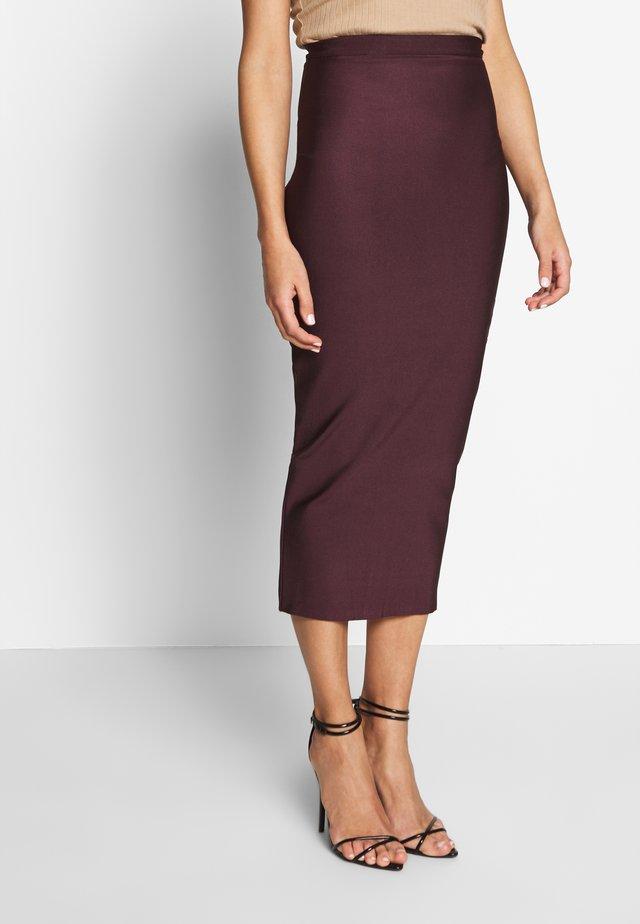 BANDAGE MIDAXI SKIRT - Pencil skirt - plum