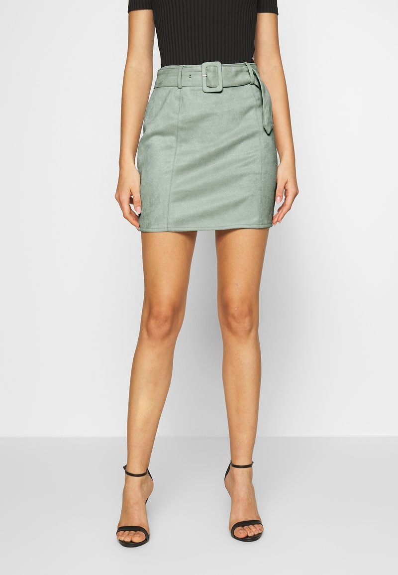 Missguided - SELF BELTED MINI SKIRT - Jupe crayon - mint