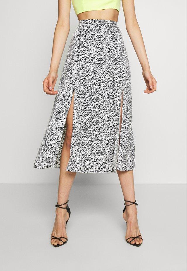 DALMATION DOUBLE SPLIT MIDI SKIRT - A-line skirt - white