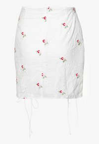 Missguided - BRODERIE EMBROIDERED RUCHED MINI SKIRT - Mini skirt - white - 1