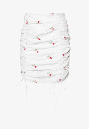BRODERIE EMBROIDERED RUCHED MINI SKIRT - Minigonna - white