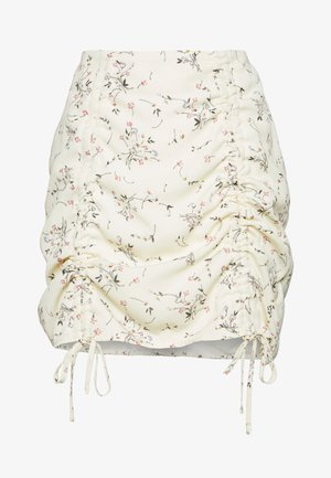 DITSY FLORAL RUCHED MINI SKIRT - Mini skirt - cream