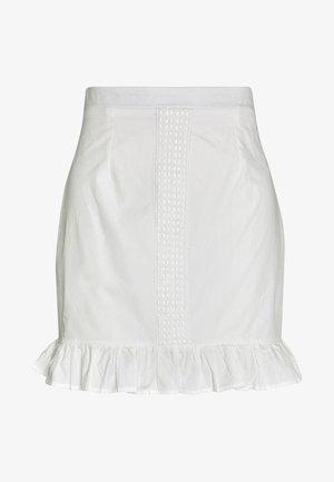 POPLIN CROCHET TRIM MINI SKIRT - Minisukně - white