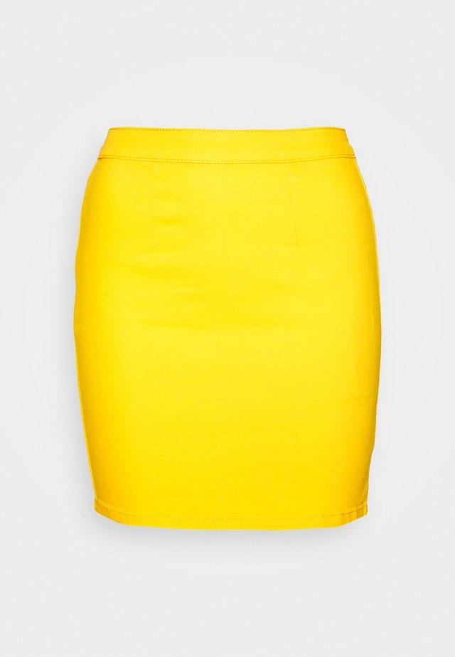 ZIP UP SKIRT - Denim skirt - yellow