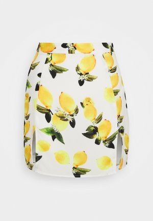 LEMON PRINT SPLIT MINI SKIRT - Falda acampanada - white