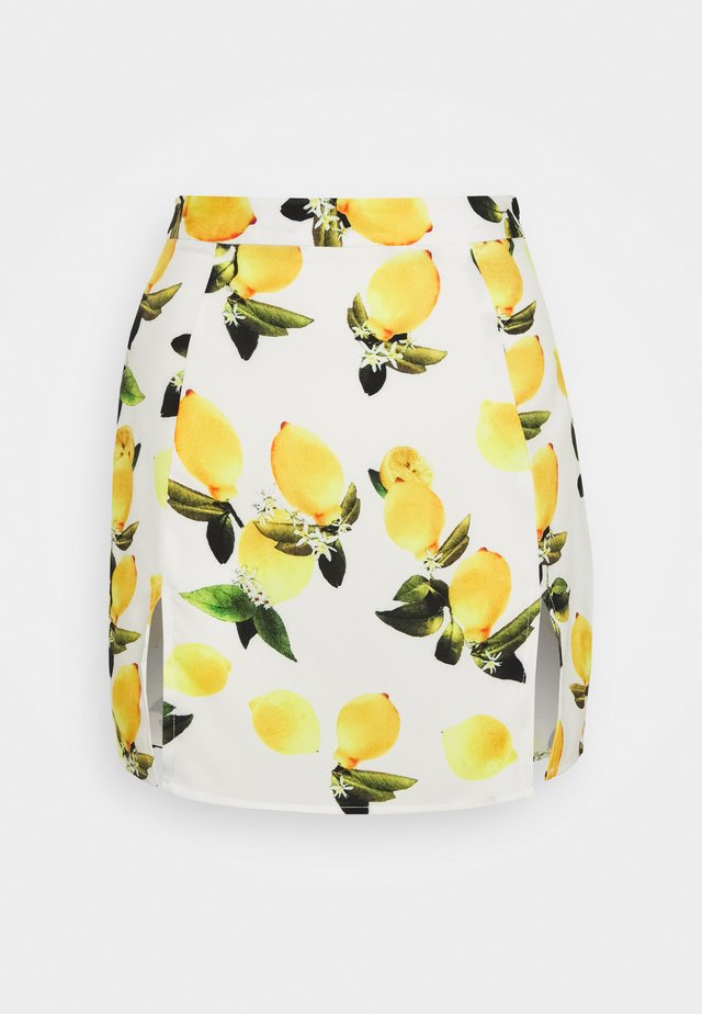 LEMON PRINT SPLIT MINI SKIRT - A-lijn rok - white