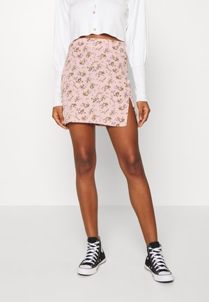 MINI SKIRT SPLIT FLORAL - Spódnica mini - pink