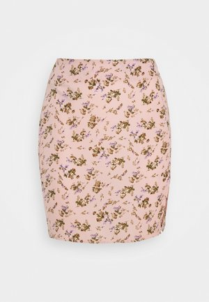 MINI SKIRT SPLIT FLORAL - Minifalda - pink
