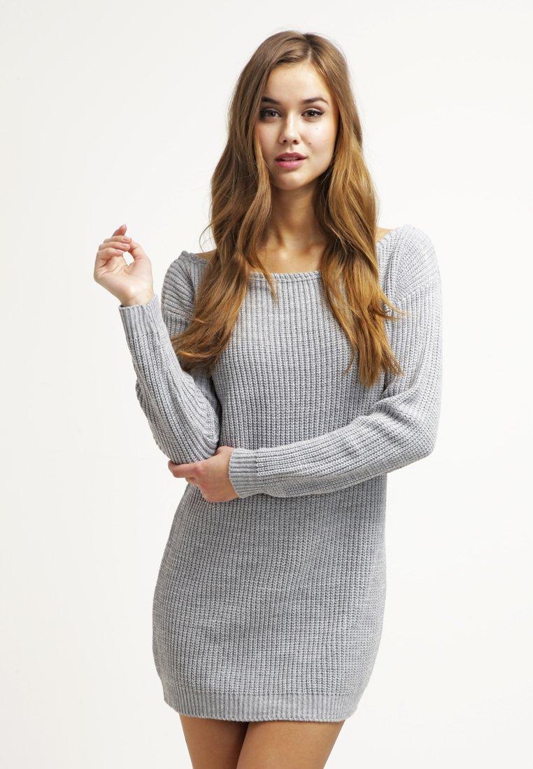 Missguided - AYVAN OFF SHOULDER - Strikket kjole - light grey