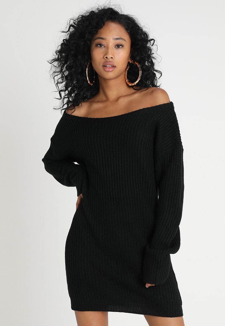 Missguided - AYVAN OFF SHOULDER - Strikkjoler - black