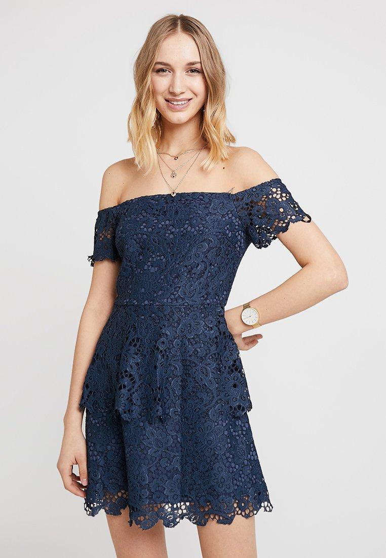 Missguided - BARDOT DOUBLE LAYER SKATER DRESS - Cocktailkleid/festliches Kleid - blue