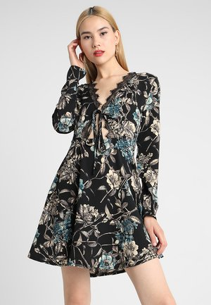 LACE TRIM TEA DRESS - Day dress - black