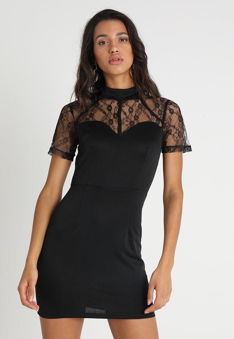 Missguided - HARNESS DETAIL SWEETHEART NECKLINE MINI DRESS - Cocktailkjole - black