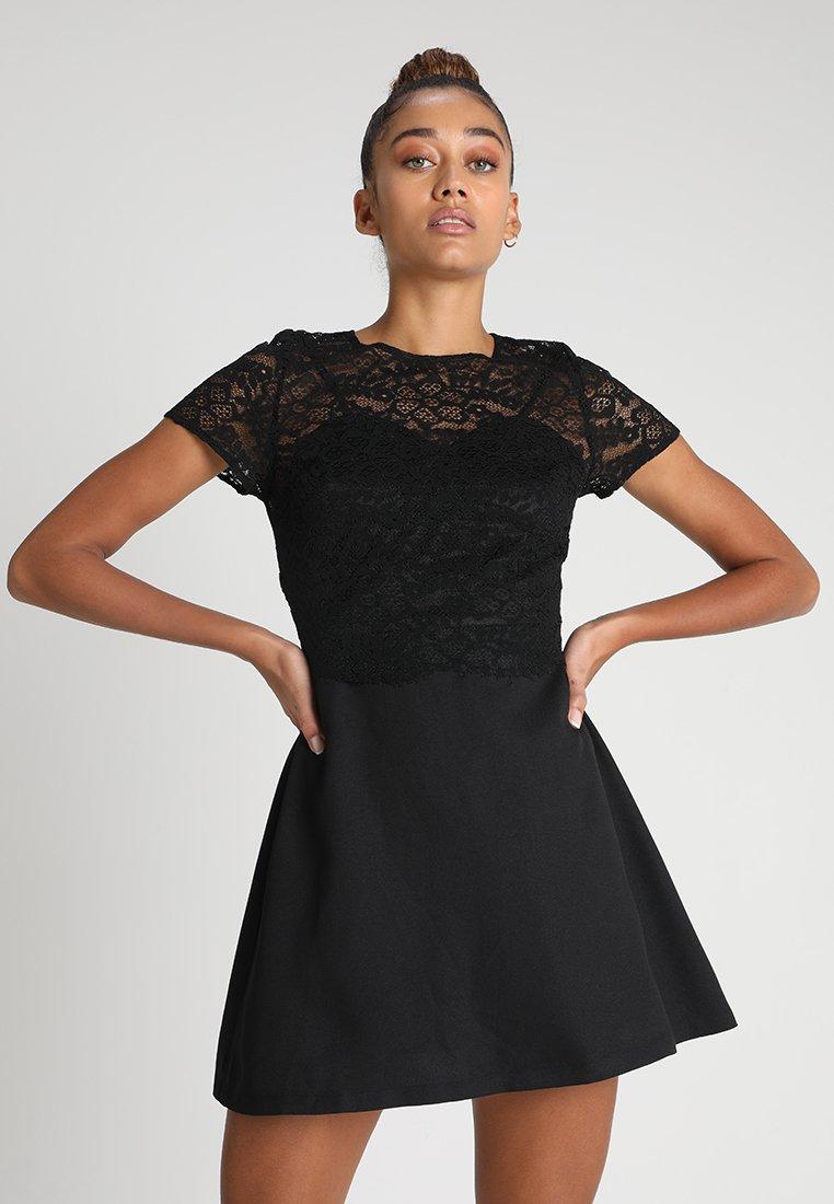 Missguided - CAMI MINI DRESS CROP OVERLAYER - Cocktail dress / Party dress - black