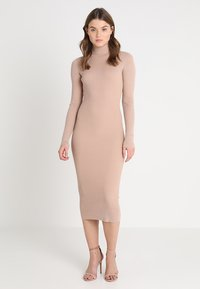 Missguided - ROLL NECK RIBBED  MINI DRESS - Abito in maglia - taupe - 1