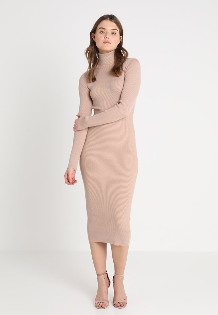 Missguided - ROLL NECK RIBBED  MINI DRESS - Abito in maglia - taupe
